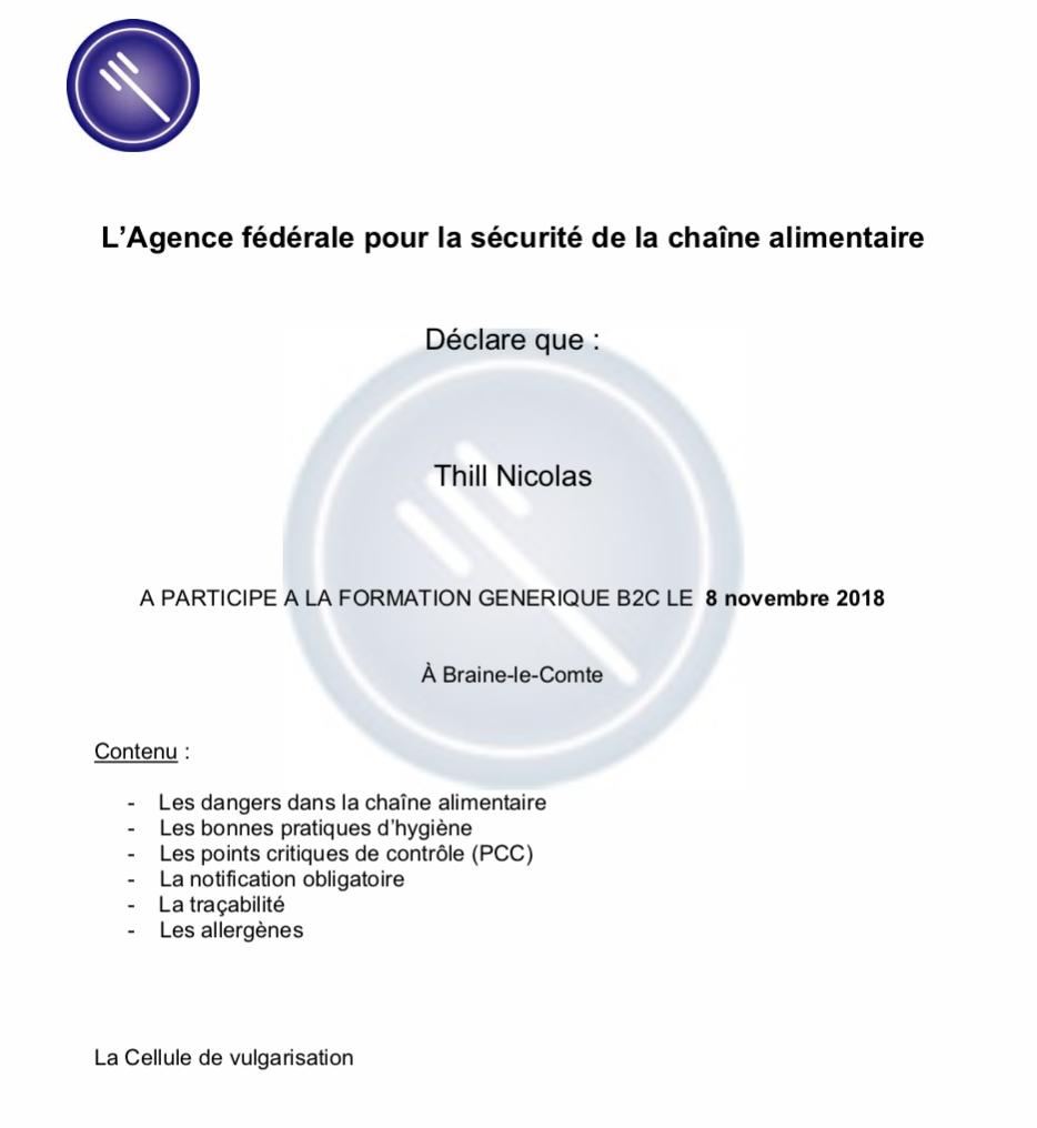 Certificat Afsca Baravane